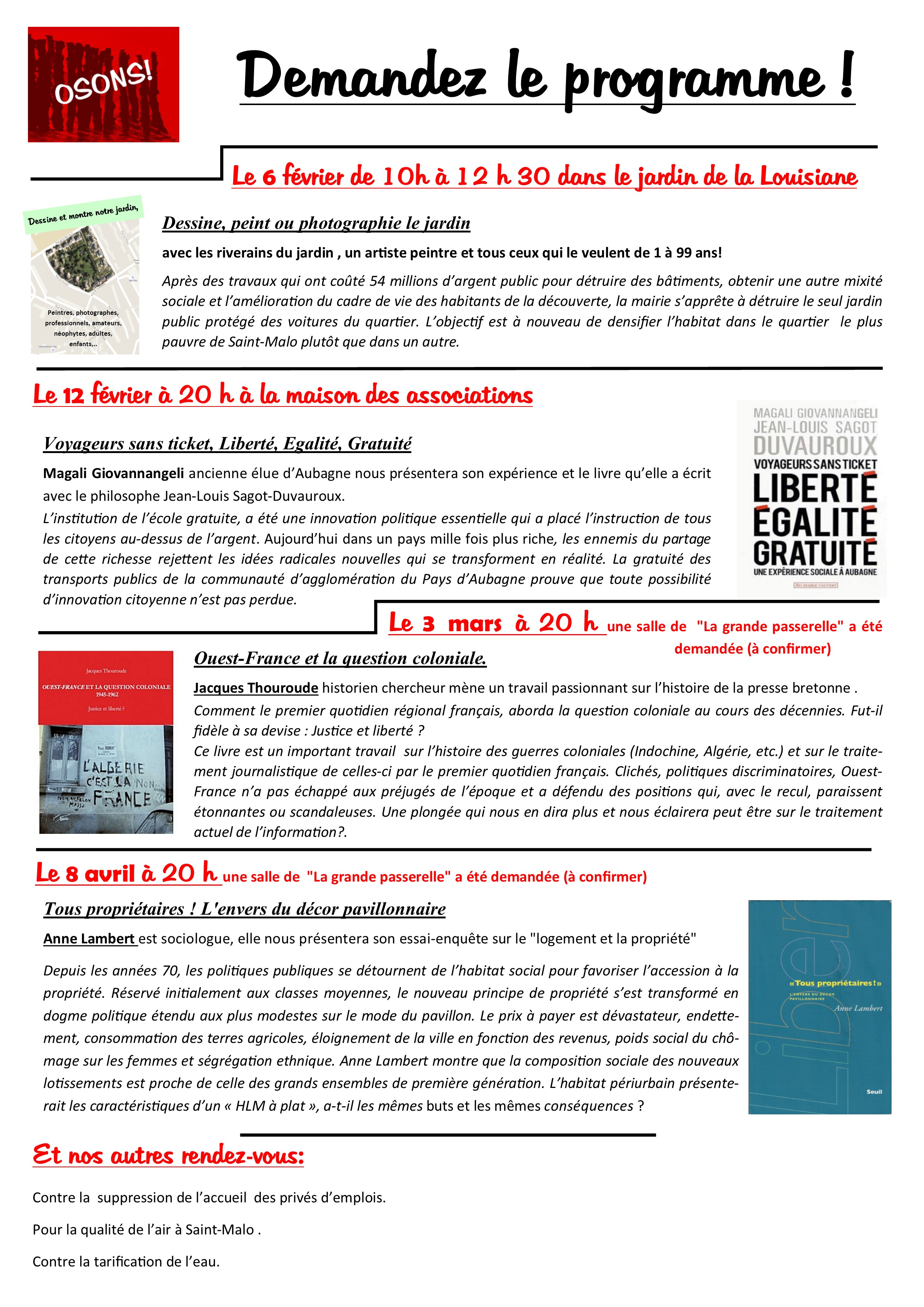programme osons semestre 1 2016